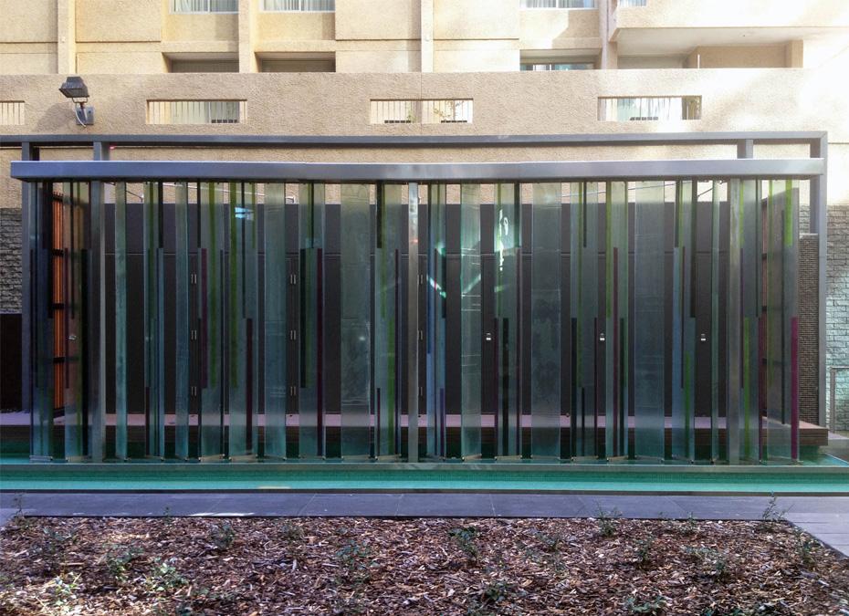Glass slumped outdoor sculpture