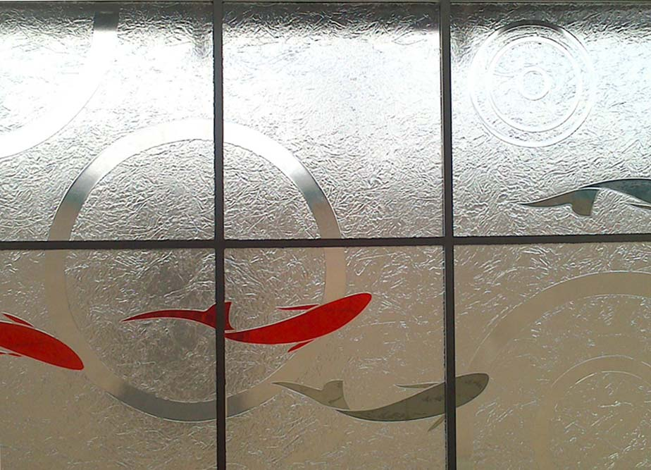 Slumped Glass screen Koi fish