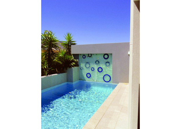 coloured glass outdoor water feature