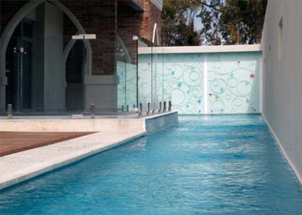 glass pool feature slumped outdoor