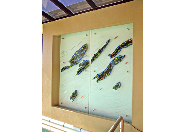pool feature slumped glass