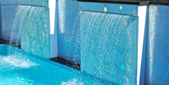 slumped glass garden pool water feature