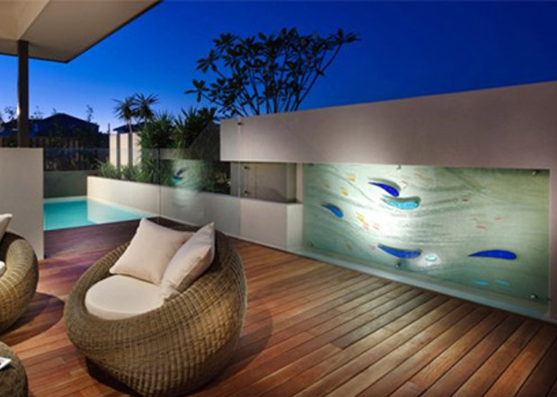 outdoor water feature slumped glass