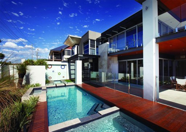 glass pool feature outdoor coloured