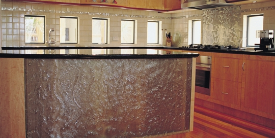Slumped curved kitchen panel