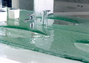 Glass vanity & basins bathroom