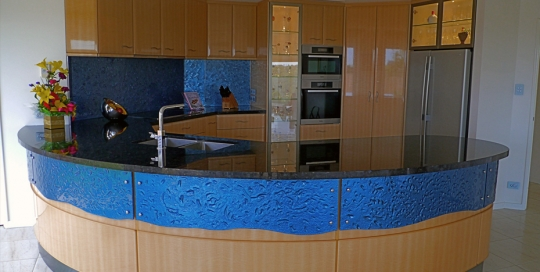 Slumped glass Splash Back & curved Panelling
