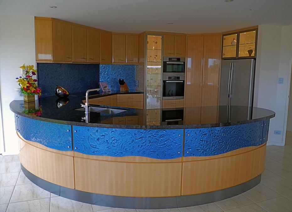 Slumped glass Splash Back & curved Panelling