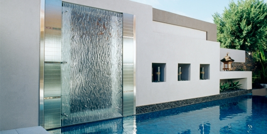 outdoor pool slumped glass water feature