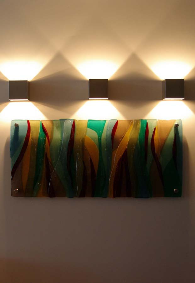 fused glass wall art textured coloured