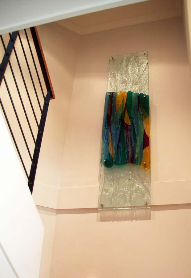 coloured glass wall feature