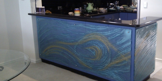Textured slumped glass painted panelling