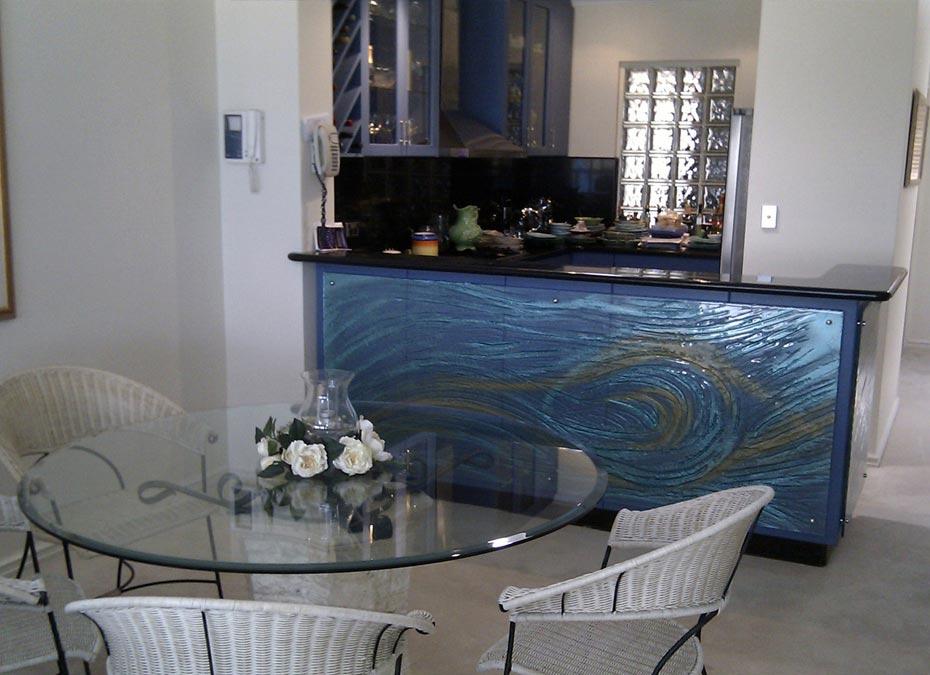 Slumped Glass Kitchen panelling