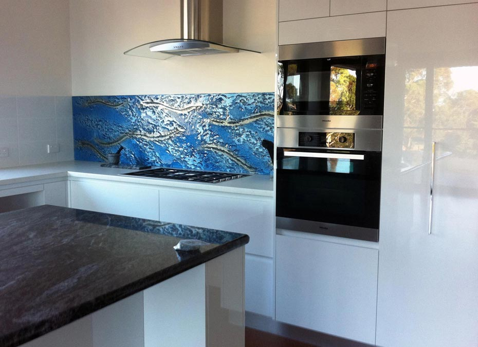 Slumped Glass kitchen splash back