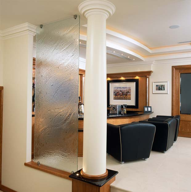 Textured decorative glass partition