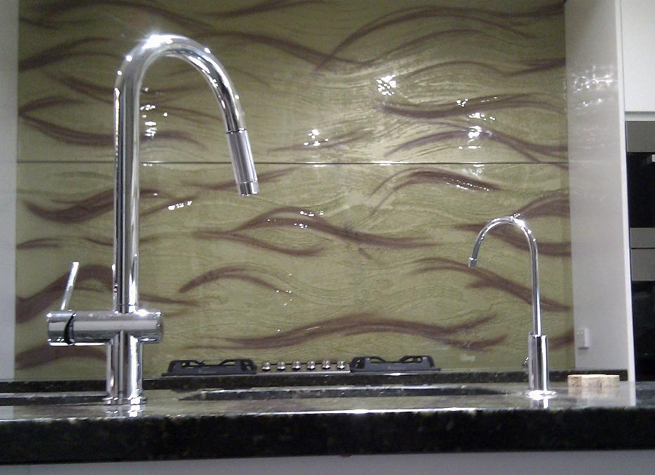 Textured Painted glass kitchen Splash back