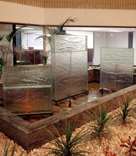 glass water feature slumped