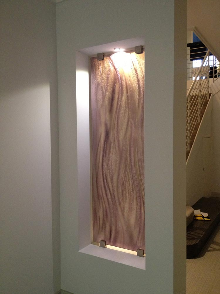 Painted slumped Glass feature