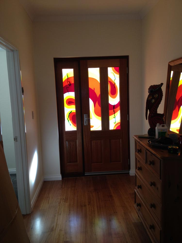Abstract Coloured Glass Front Door