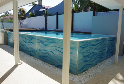 Slumped glass water feature pool