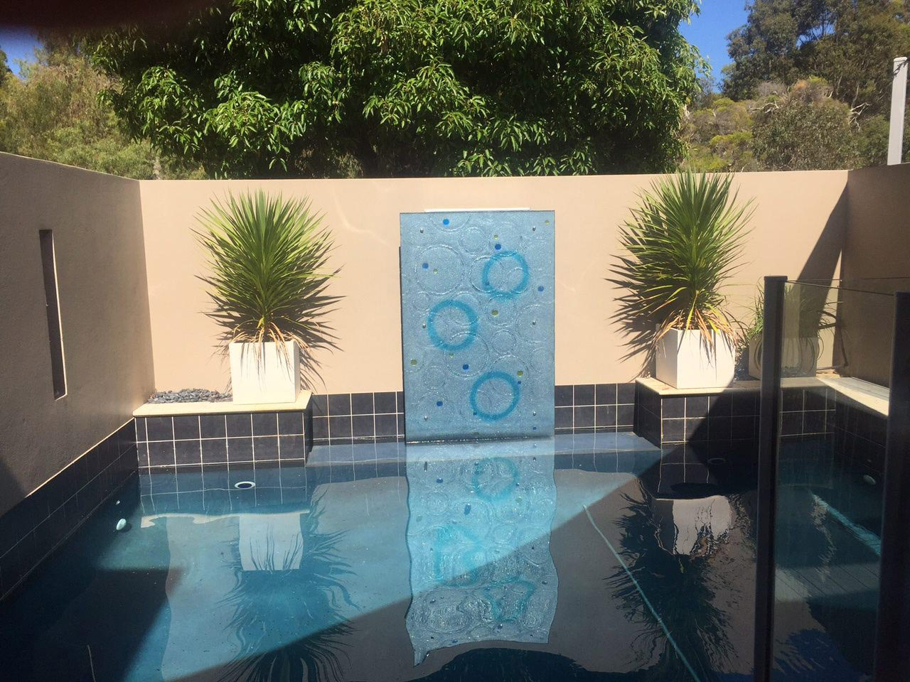 Slumped glass water feature