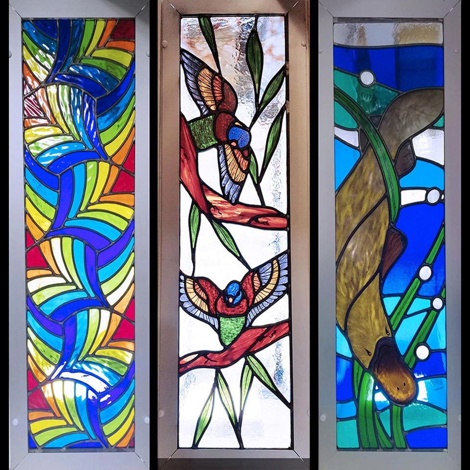 parrots, platypus, stained glass