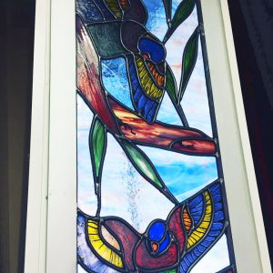 stained glass parrots, leadlight, australian