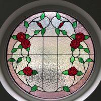 round leadlight window roses
