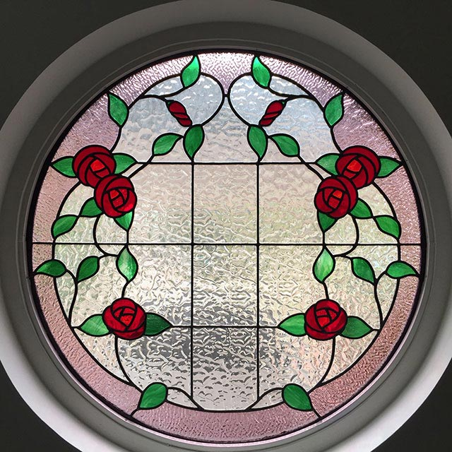 round leadlight window roses