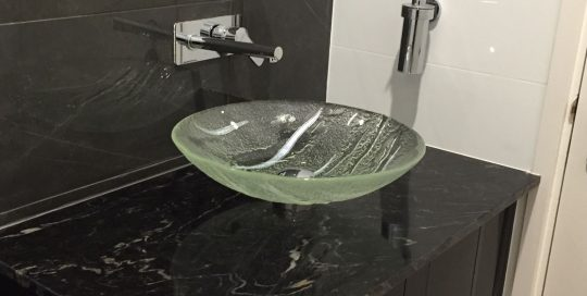 glass hand basin bathroom
