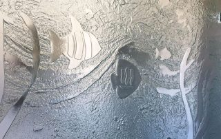 custom textured slumped glass ocean theme