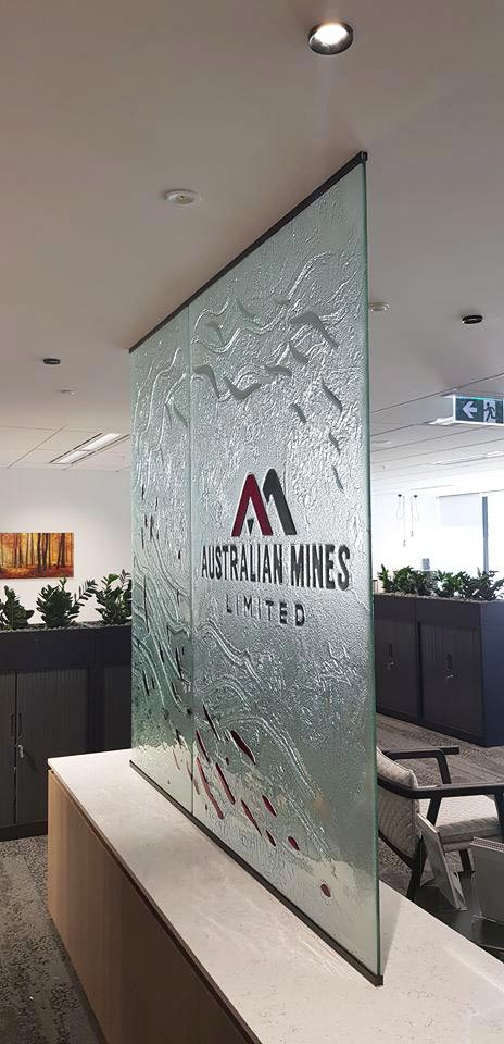 custom textured slumped glass signage