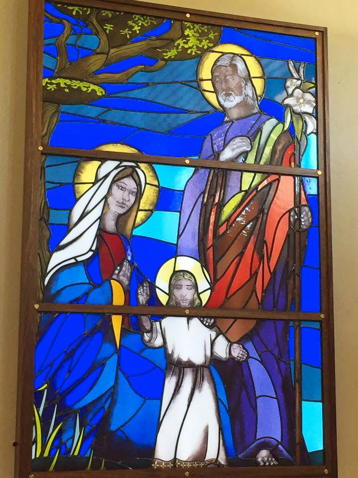 the holy family leadlight window