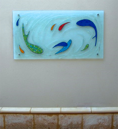 custom textured glass water feature