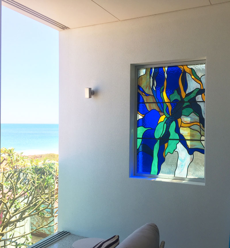 ocean seaweed leadlight window