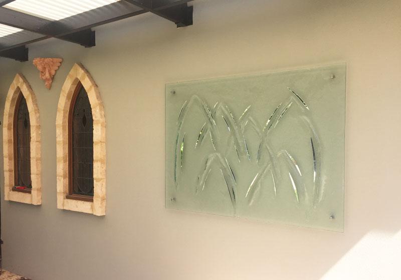Textured slumped glass mirror detailing