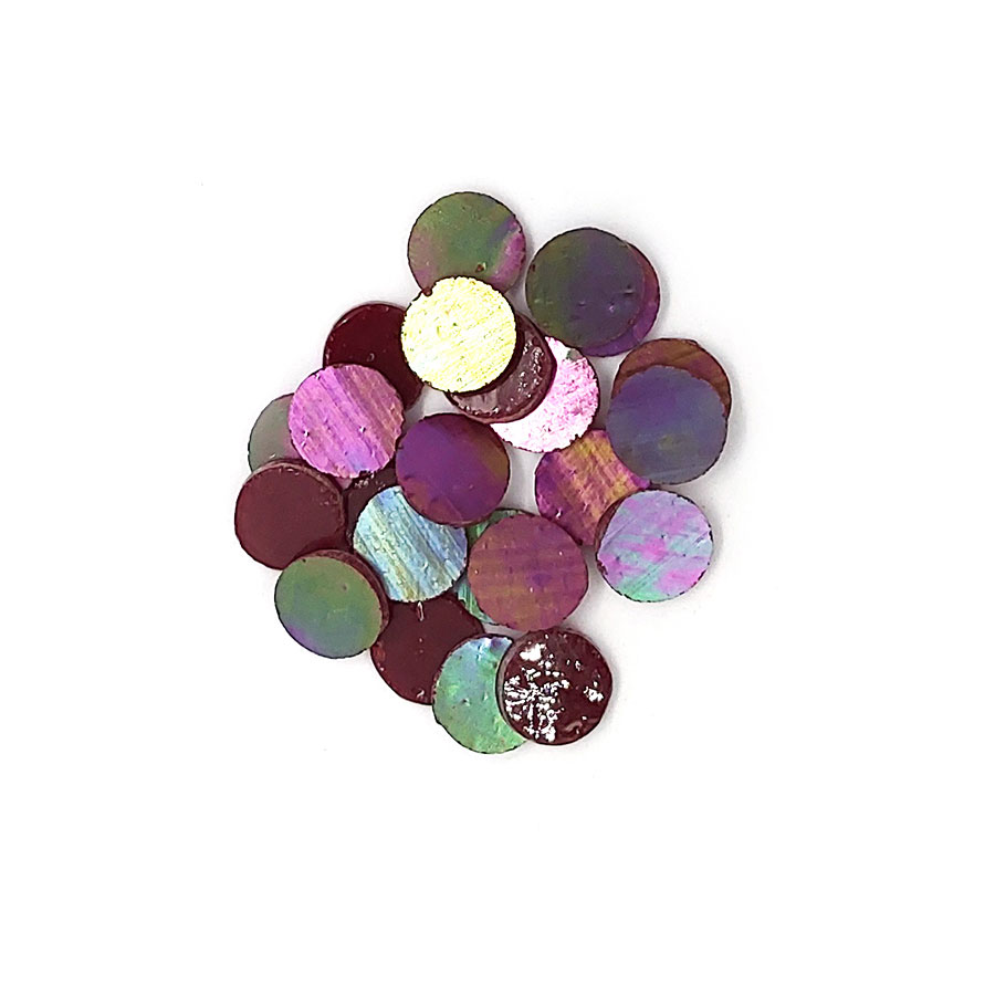 pile of iridescent pink purple circle glass tiles for mosaics