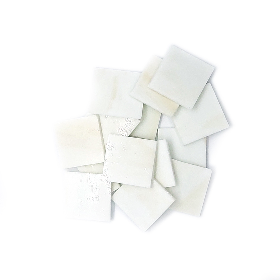 white with cream vision glass mosaic tiles in pile