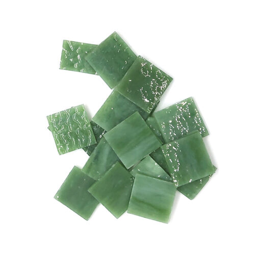 green vision glass mosaic tiles in pile