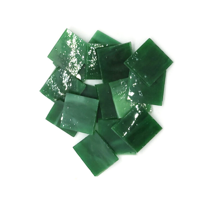 bottle green vision glass mosaic tiles in pile