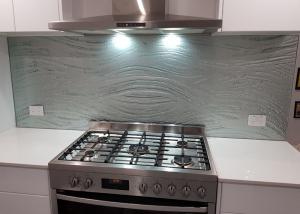 silver textured glass splashback
