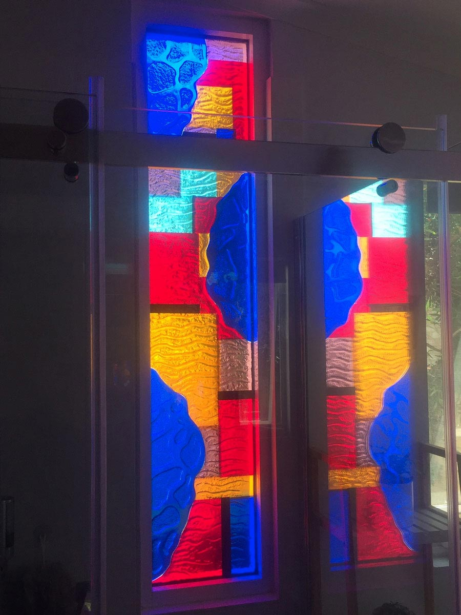 coloured glass bathroom window
