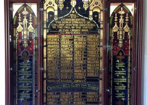 wwi leadlight memorial window with three panels and names of deceased