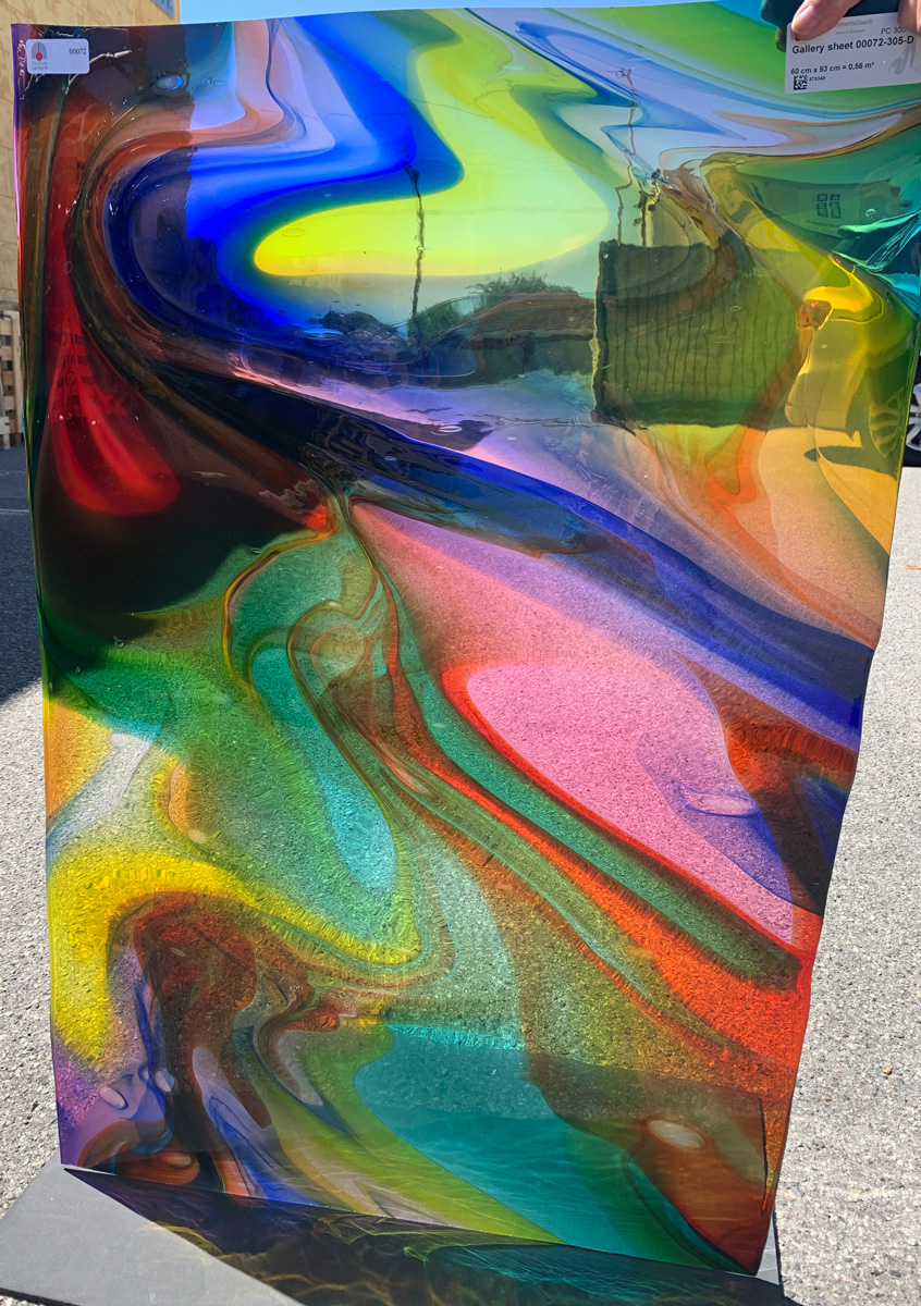 one sheet of lamberts gallery glass in multiple colours