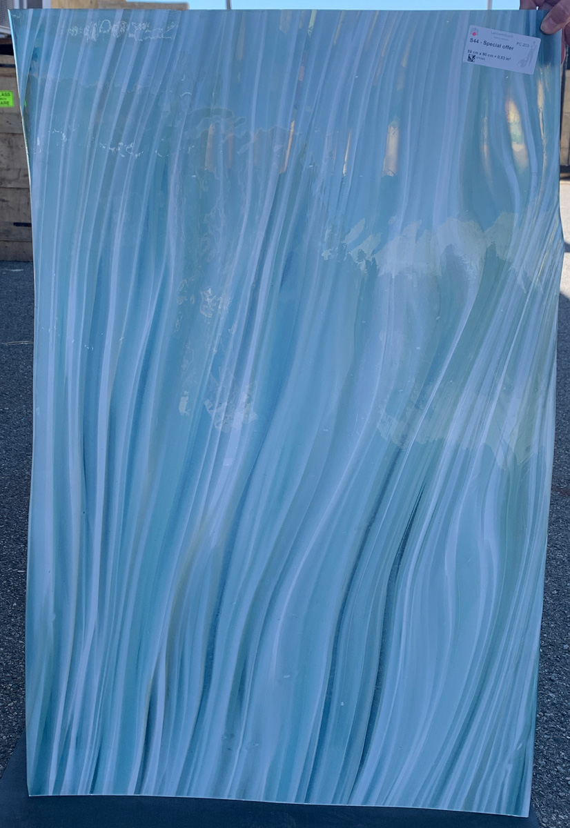 one sheet of lamberts gallery glass in blues and whites
