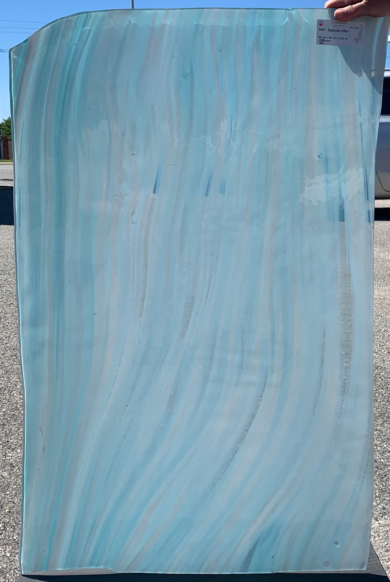 one sheet of lamberts gallery glass in blue and clear